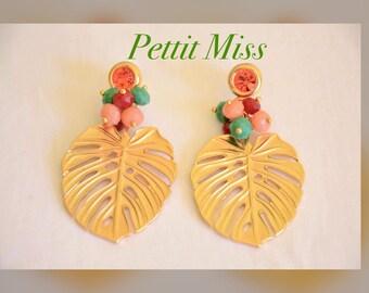 Long earrings, gold earrings, leaf earrings