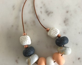 Apricot, White and Charcoal Necklace