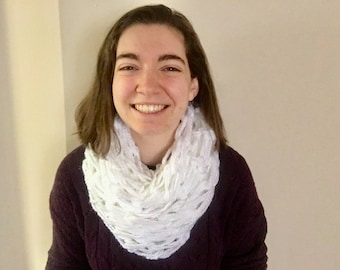Hand Knit Infinity Scarf – White