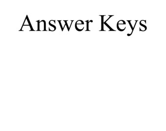 Printable Answer Keys