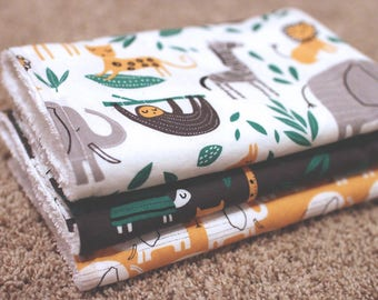 Jungle Burp Cloths with toweling back