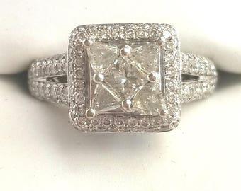 Vintage Estate 14K white gold 1.91CT Diamond Engagement Ring