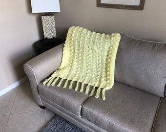 Pale Yellow Popcorn Twist Pattern Afghan