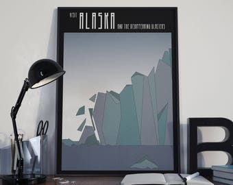 Glaciers of Alaska Pollution Travel Poster