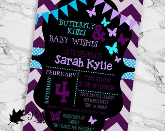 Butterfly Kisses Baby Wishes Baby Shower Invitation Girl Purple Blue