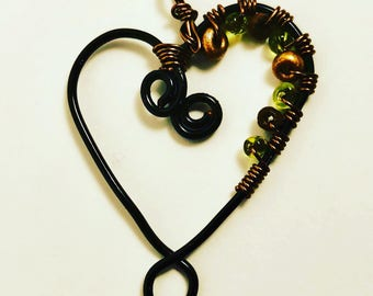 Wire Wrapped Heart Pendant