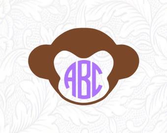 Monkey Face Monogram Decal