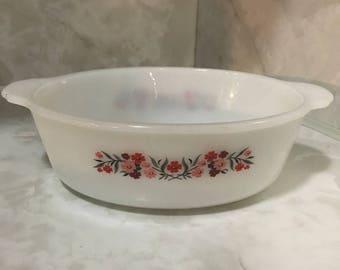 Fire King Primrose pattern 1 1/2 qt oval casserole