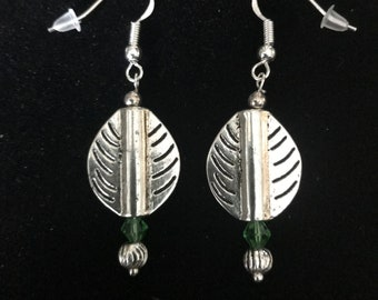 Sparkly Green Swarovski Crystals with some Vintage Sterling Silver Beads and other Quality Materials Heart Earrings