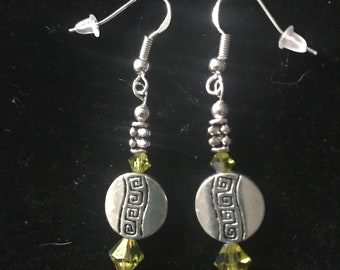 Beautiful Hand-Made Sparkly Green Swarovski Crystals with some Vintage Sterling Silver Beads and other Quality Materials Earrings