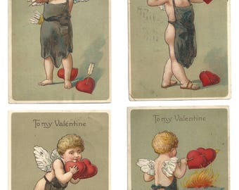 "Set of 4 Vintage Embossed ""To My Valentine"" Cupid Postcards - 1910's - Made in Germany"