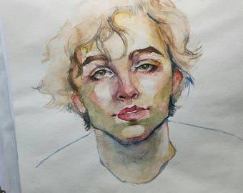 Timothee Chalamet watercolor painting