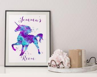 Personalised Multi colour Unicorn print