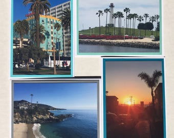Set of 8 Southen California Sightseeing Note Cards. Inside is blank. Matte photos on cardstock. Envelopes included.