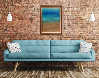 "Abstract Ocean Original: ""Dreamy Azul"" 16X20 Canvas//Frame Included"