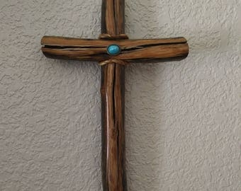 8 1/2'' Tall, 5 1/4'' Wide, 1'' Thick Rustic wood wall cross made from mesquite, cedar, pine hand made