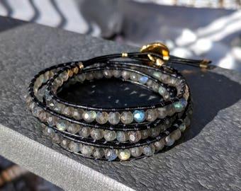 leather and labradorite wrap bracelet