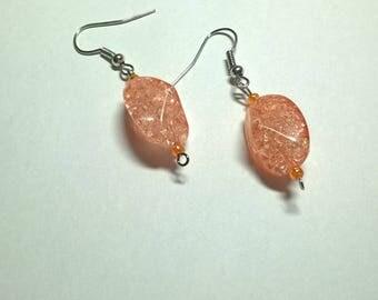 Coral Glass Bead Drop Earrings