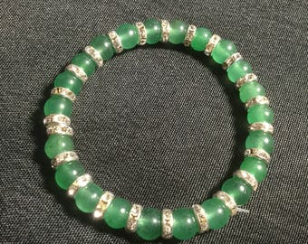 Green Aventurine & Swarovski Crystal Bracelet