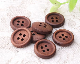 dark brown wood buttons 10pcs 15mm 4 hole wooden buttons round buttons shirt coat cardigan buttons