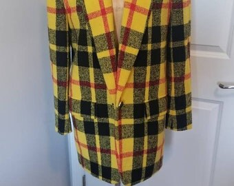 Vintage yellow and black plaid blazer