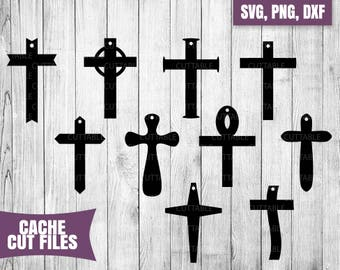 Cross earring SVG cut files, crosses cut files leather earring jewelry making cut files, cricut, silhouette, 10 cross cut files with hole