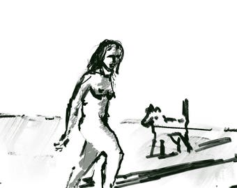 Walking Woman and an Animal
