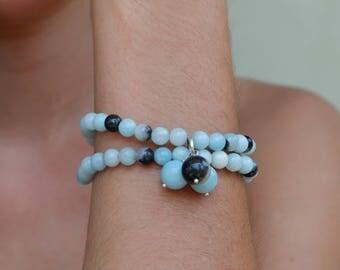 Azure Bracelet, Aquamarine, blue & black Quartz, hill tribe silver charm, sterling silver lobster clasp