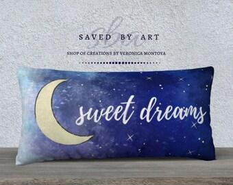 Bed Pillow, Sweet Dreams, Custom Pillow, Artistic Pillow Case, Cozy Pillow Case, Original Design, Fun Pillow, Nursery Pillow, Kids Pillow