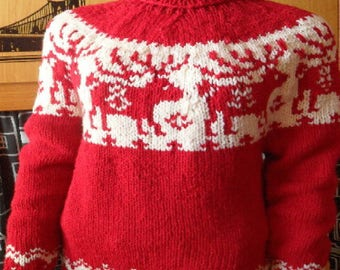 Red Norwegian sweater with reindeer