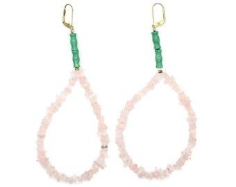 Epic Rose Quartz Hoop Earrings