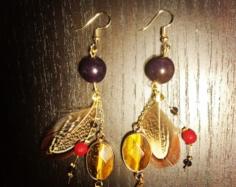 Earrings feather and beads