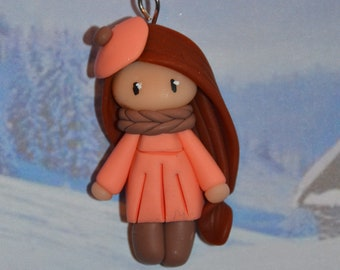 Handmade baby dress salmon, brown hair - winter Collection - jewelry polymer clay