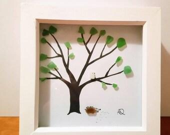 Seaglass picture.  Tree