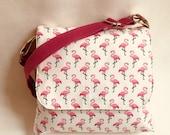 Flamingo bag , Messenger bag, ladies bag,pink flamingos,  ,pink bag, waterproof bag