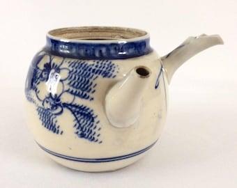 "Antique Chinese Blue and White Qing Dynasty Porcelain Tea Pot Double Pout 10cm 4"""