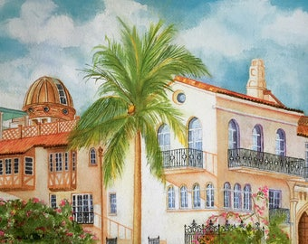 "Maureen Hunt Piccirillo Villa Versace Watercolor Signed Print 10"" x 12"""