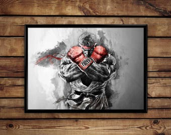 Ryu Street Fighter Print  wall art hme decor poster