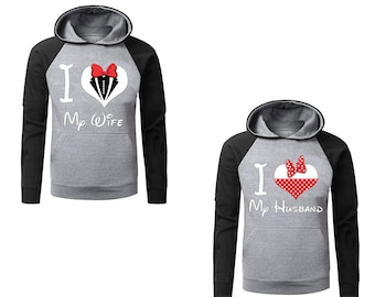 Two Color Hoodies for Couple I Love My Husband ,I Love My Wife Disney Raglan Gray-Black Couple Goal Popular Designs