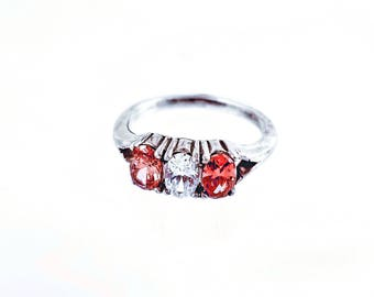 Three Stone Silver Ring / Ruby / Sapphire / Aquamarine