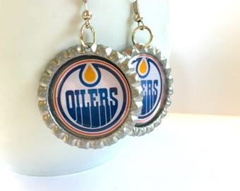 Edmonton OILERS Handcrafted Hockey Earrings