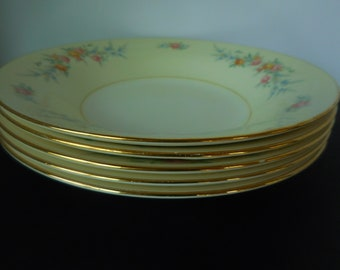 Vintage Soup Dinner Bowls/Set of Four/Homer Laughlin/ Nautilus Ferndale Pattern/ Eggshell China E47N5