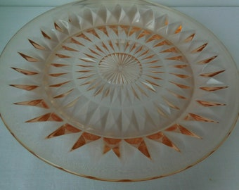 Vintage Pink Depression Glass Luncheon Plates Windsor Diamond Pattern by Jeannette Glass