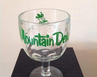 Vintage Mountain Dew Soda Glass Goblet Hillbilly Advertising Mountain Man
