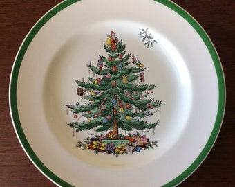 Christmas Tree Spode Dinner Plates - Set of 4