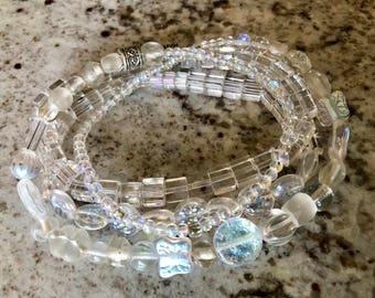 Clear Glass Beaded Bracelet