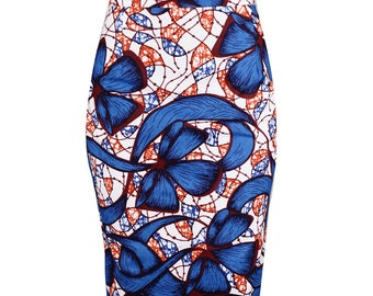 Blue patterned Ankara Pencil Skirt