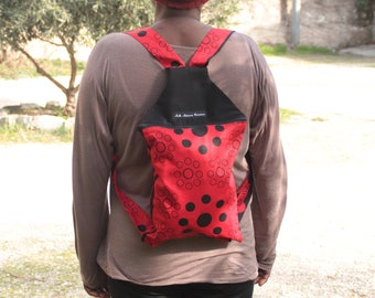 Red and black Wax pattern backpack