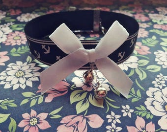 Anchor bow black choker with  bell charms