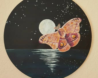 Moth and Moon, Original Painting